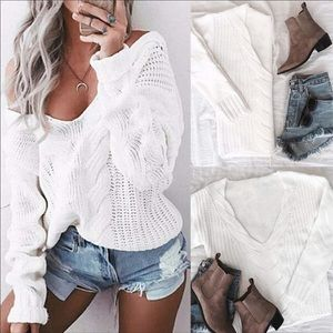 White Chunky Knit Cozy Sweater